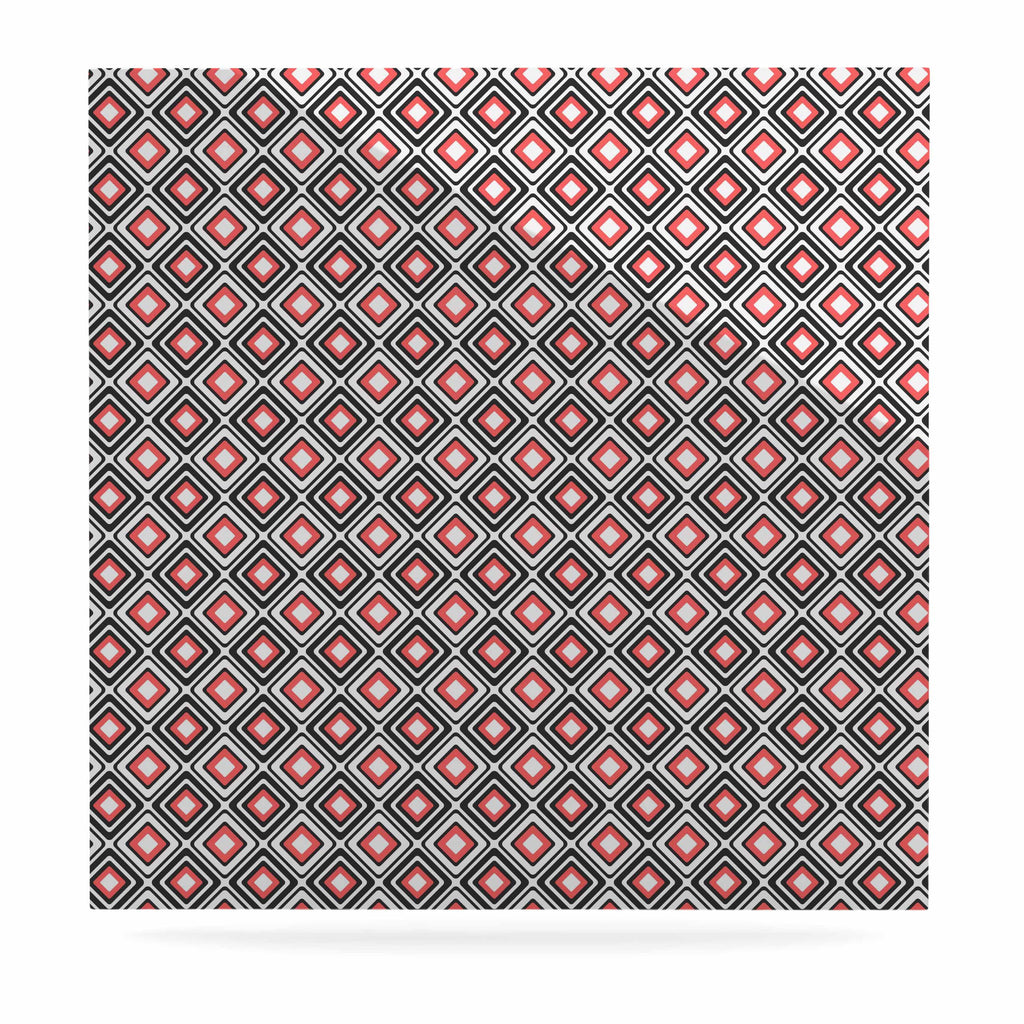"Nandita Singh ""Bright Squares-Coral"" Black Pattern Luxe Square Panel - KESS InHouse  - 1"
