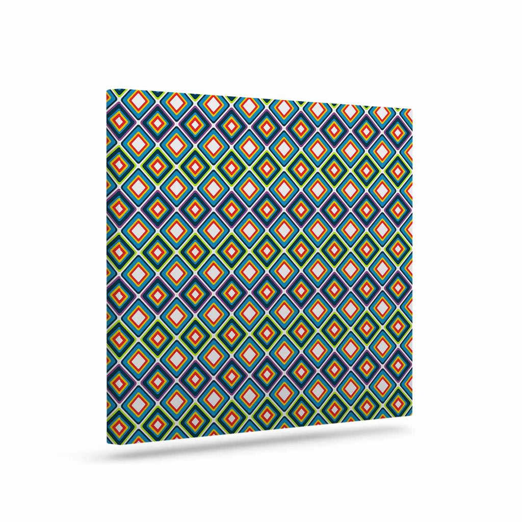 "Nandita Singh ""Bright Squares-Blue"" Green Pattern Canvas Art - KESS InHouse  - 1"