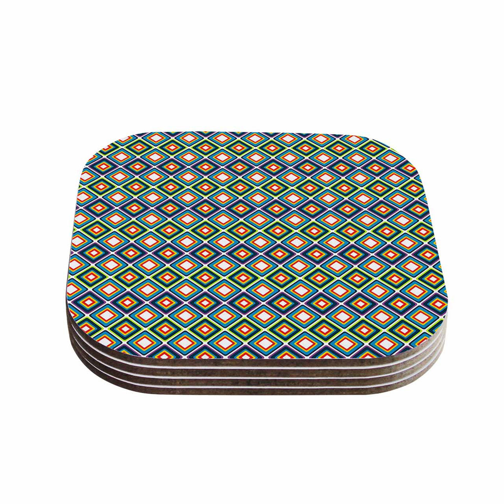 "Nandita Singh ""Bright Squares-Blue"" Green Pattern Coasters (Set of 4)"