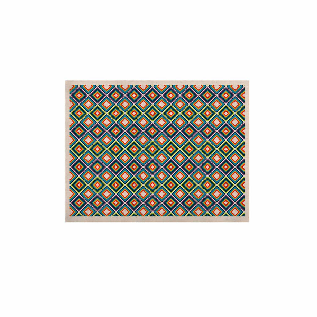 "Nandita Singh ""Bright Squares-Blue"" Green Pattern KESS Naturals Canvas (Frame not Included) - KESS InHouse  - 1"