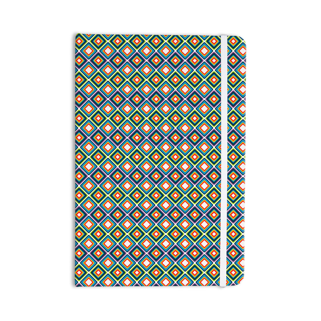 "Nandita Singh ""Bright Squares-Blue"" Green Pattern Everything Notebook - KESS InHouse  - 1"