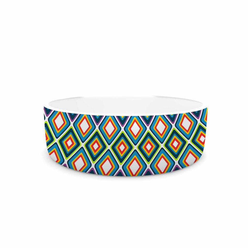 "Nandita Singh ""Bright Squares-Blue"" Green Pattern Pet Bowl - KESS InHouse"