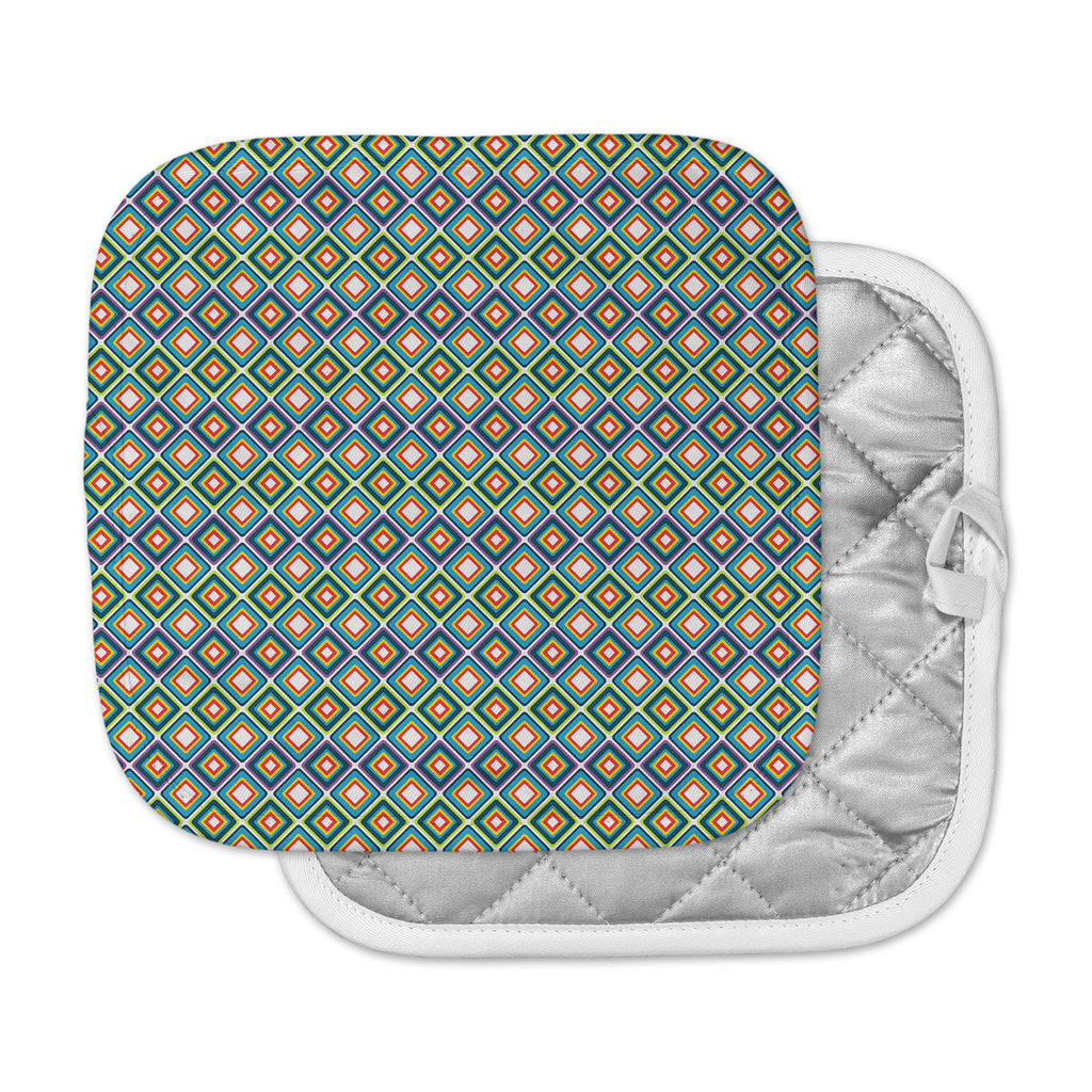 "Nandita Singh ""Bright Squares-Blue"" Green Pattern Pot Holder"