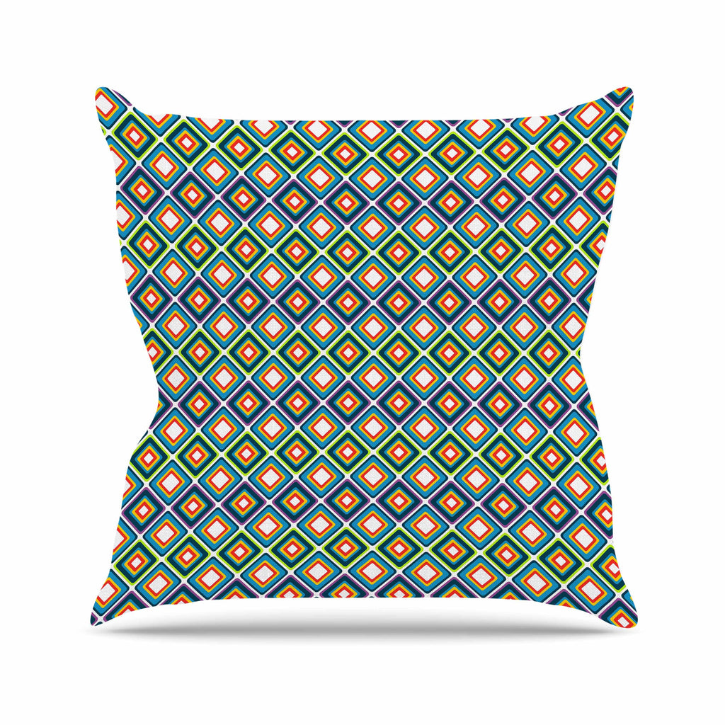 "Nandita Singh ""Bright Squares-Blue"" Green Pattern Throw Pillow - KESS InHouse  - 1"