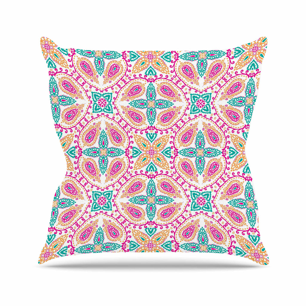 "Nandita Singh ""Boho In Multicolor"" Pink Abstract Outdoor Throw Pillow - KESS InHouse  - 1"
