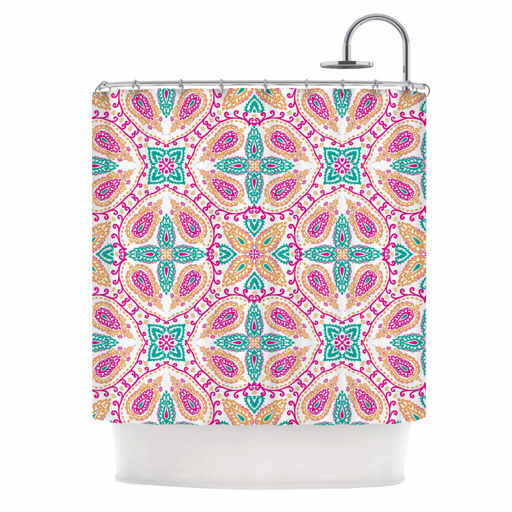 "Nandita Singh ""Boho In Multicolor"" Pink Abstract Shower Curtain - KESS InHouse"