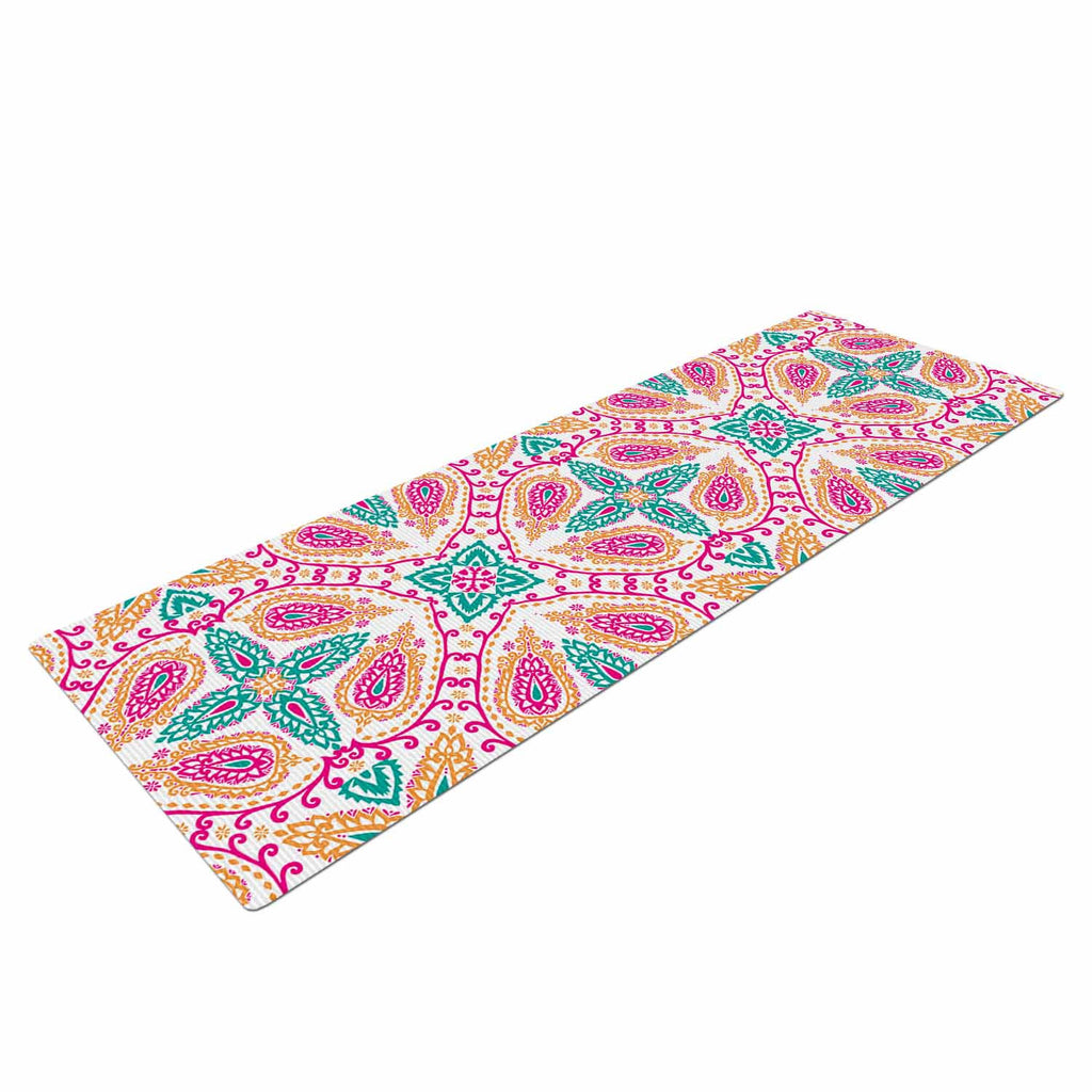 "Nandita Singh ""Boho In Multicolor"" Pink Abstract Yoga Mat - KESS InHouse  - 1"