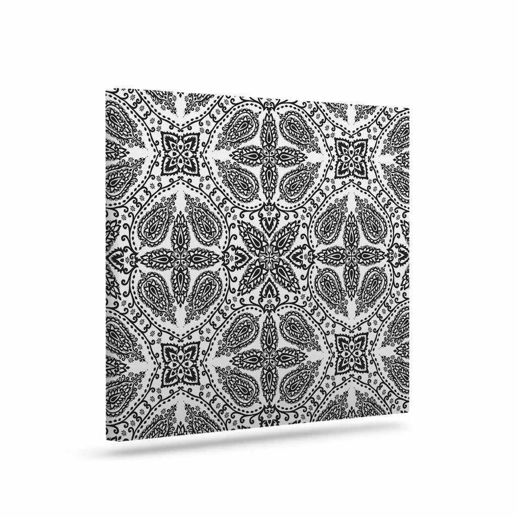 "Nandita Singh ""Boho In Black And White"" Grey Pattern Canvas Art - KESS InHouse  - 1"