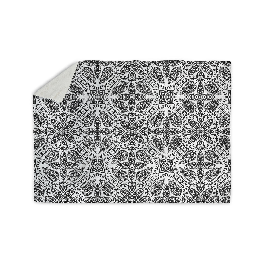 "Nandita Singh ""Boho In Black And White"" Grey Pattern Sherpa Blanket - KESS InHouse  - 1"