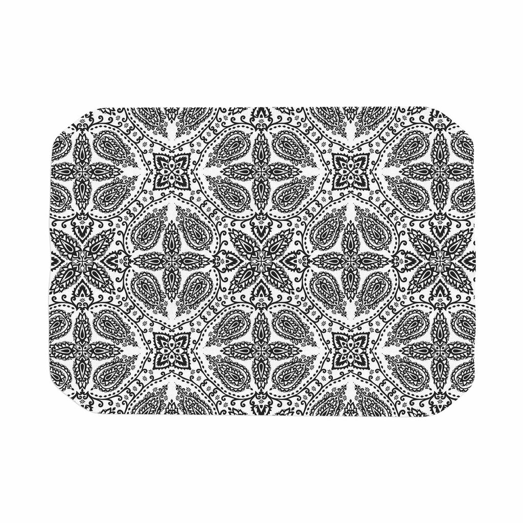 "Nandita Singh ""Boho In Black And White"" Grey Pattern Place Mat - KESS InHouse"