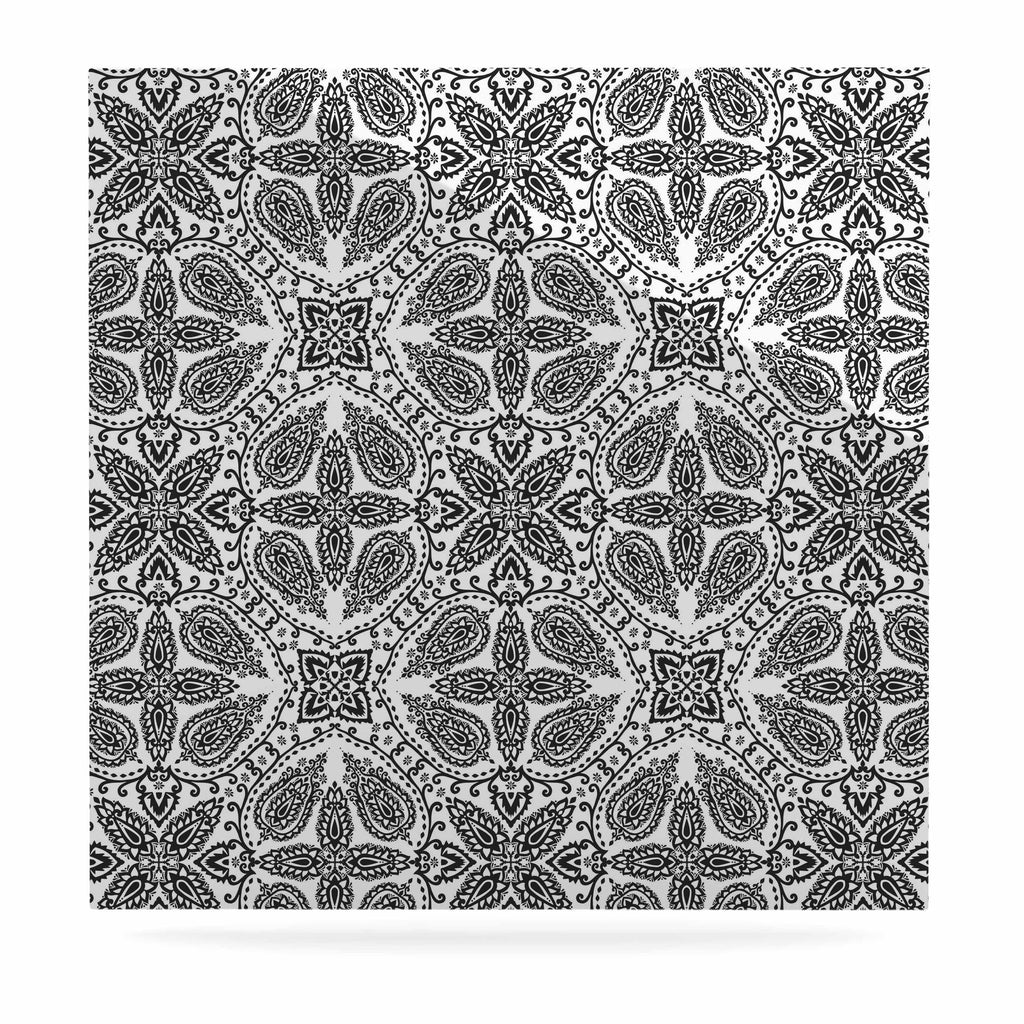 "Nandita Singh ""Boho In Black And White"" Grey Pattern Luxe Square Panel - KESS InHouse  - 1"