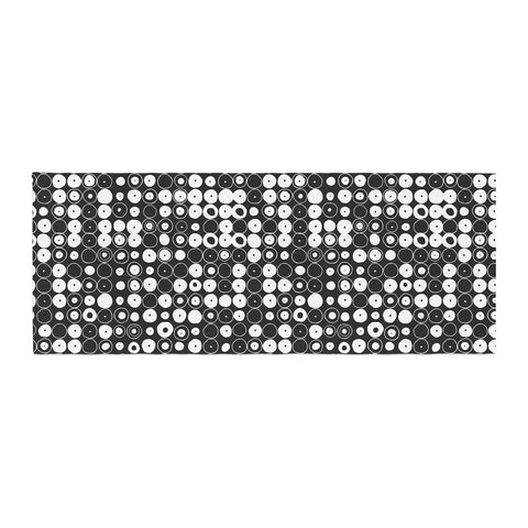 "Nandita Singh ""White & Black Funny Polka Dots "" Black Abstract Bed Runner - KESS InHouse"