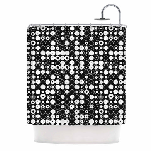 "Nandita Singh ""White & Black Funny Polka Dots "" Black Abstract Shower Curtain - KESS InHouse"