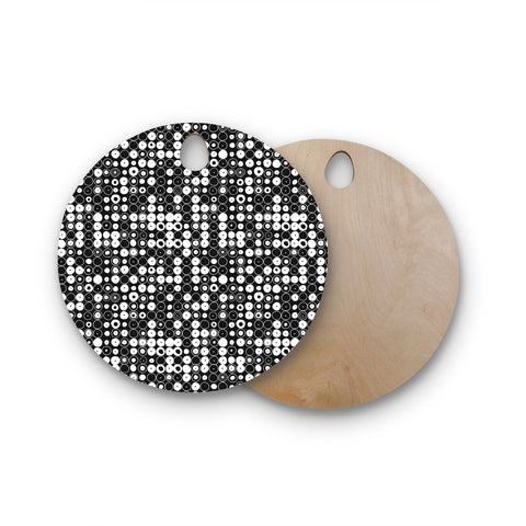 "Nandita Singh ""White & Black Funny Polka Dots"" Round Wooden Cutting Board"