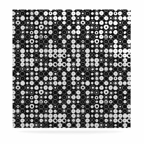 "Nandita Singh ""White & Black Funny Polka Dots "" Black Abstract Luxe Square Panel - KESS InHouse  - 1"