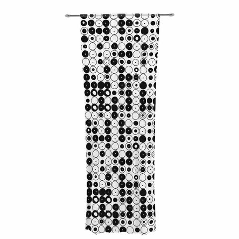 "Nandita Singh ""Black & White Funny Polka Dots"" White Abstract Decorative Sheer Curtain - KESS InHouse  - 1"