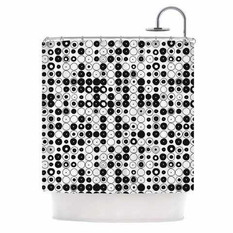 "Nandita Singh ""Black & White Funny Polka Dots"" White Abstract Shower Curtain - KESS InHouse"
