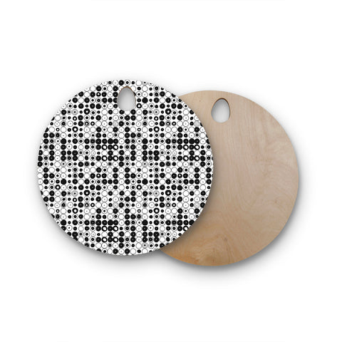 "Nandita Singh ""Black & White Funny Polka Dots"" Round Wooden Cutting Board"