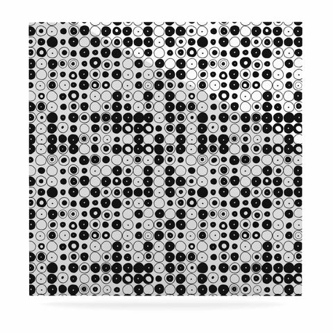 "Nandita Singh ""Black & White Funny Polka Dots"" White Abstract Luxe Square Panel"