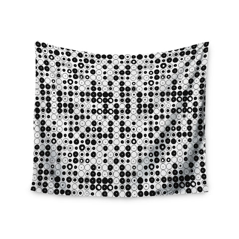 "Nandita Singh ""Black & White Funny Polka Dots"" White Abstract Wall Tapestry - KESS InHouse  - 1"