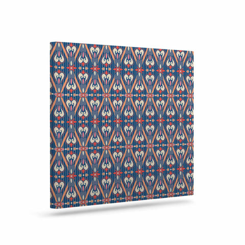 "Nandita Singh ""Beautiful Border"" Blue Pink Ethnic Arabesque Canvas Art"