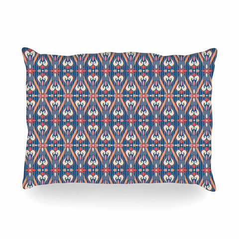"Nandita Singh ""Beautiful Border"" Blue Pink Ethnic Arabesque Oblong Pillow"
