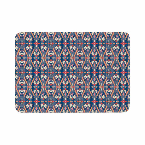 "Nandita Singh ""Beautiful Border"" Blue Pink Ethnic Arabesque Memory Foam Bath Mat"