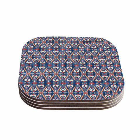 "Nandita Singh ""Beautiful Border"" Blue Pink Ethnic Arabesque Coasters (Set of 4)"