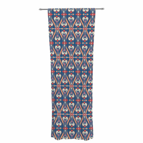 "Nandita Singh ""Beautiful Border"" Blue Pink Ethnic Arabesque Decorative Sheer Curtain"