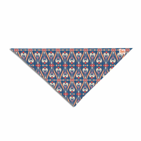 "Nandita Singh ""Beautiful Border"" Blue Pink Ethnic Arabesque Pet Bandana"