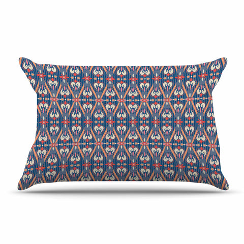 "Nandita Singh ""Beautiful Border"" Blue Pink Ethnic Arabesque Pillow Sham"