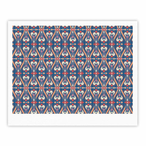 "Nandita Singh ""Beautiful Border"" Blue Pink Ethnic Arabesque Fine Art Gallery Print"