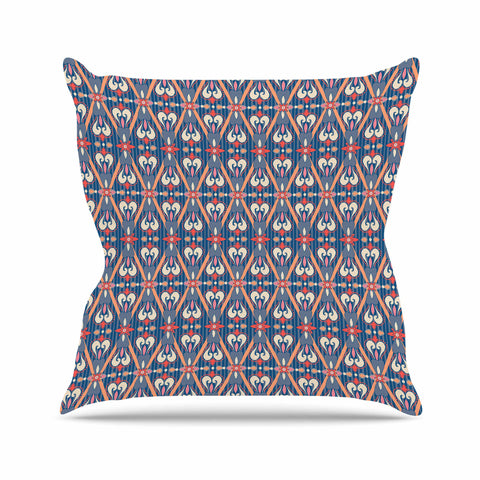 "Nandita Singh ""Beautiful Border"" Blue Pink Ethnic Arabesque Outdoor Throw Pillow"