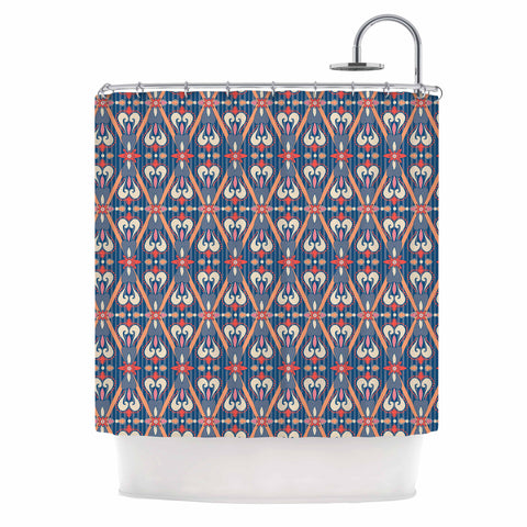 "Nandita Singh ""Beautiful Border"" Blue Pink Ethnic Arabesque Shower Curtain"