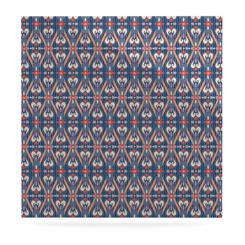 "Nandita Singh ""Beautiful Border"" Blue Pink Ethnic Arabesque Luxe Square Panel"