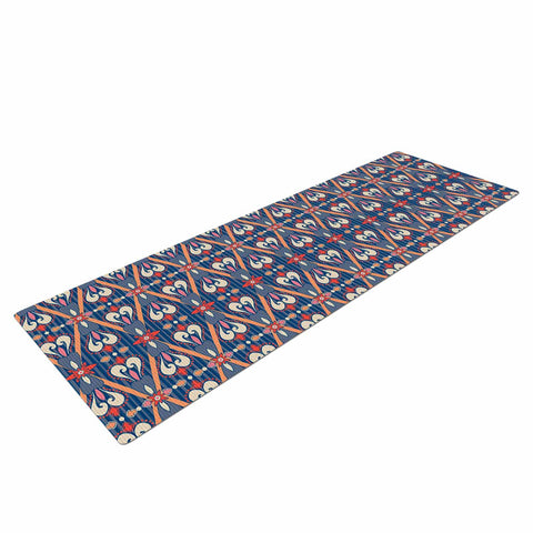 "Nandita Singh ""Beautiful Border"" Blue Pink Ethnic Arabesque Yoga Mat"