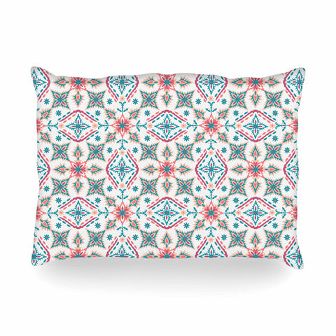 "Nandita Singh ""Moroccan Beauty"" Blue Coral Ethnic Arabesque Oblong Pillow"