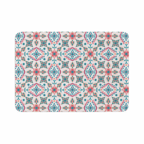 "Nandita Singh ""Moroccan Beauty"" Blue Coral Ethnic Arabesque Memory Foam Bath Mat"