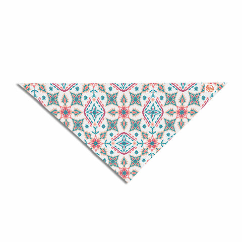 "Nandita Singh ""Moroccan Beauty"" Blue Coral Ethnic Arabesque Pet Bandana"