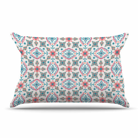 "Nandita Singh ""Moroccan Beauty"" Blue Coral Ethnic Arabesque Pillow Sham"