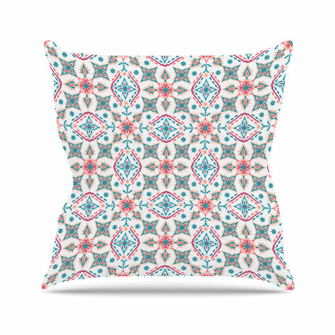 "Nandita Singh ""Moroccan Beauty"" Blue Coral Ethnic Arabesque Outdoor Throw Pillow"