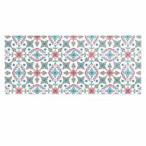"Nandita Singh ""Moroccan Beauty"" Blue Coral Ethnic Arabesque Luxe Rectangle Panel"