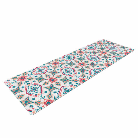 "Nandita Singh ""Moroccan Beauty"" Blue Coral Ethnic Arabesque Yoga Mat"