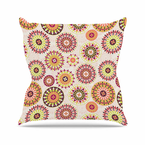 "Nandita Singh ""Mandala Floral"" Pink Multicolor Floral Pattern Outdoor Throw Pillow"