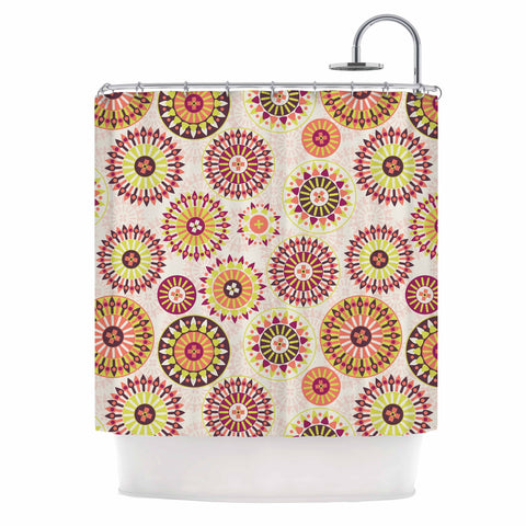 "Nandita Singh ""Mandala Floral"" Pink Multicolor Floral Pattern Shower Curtain"