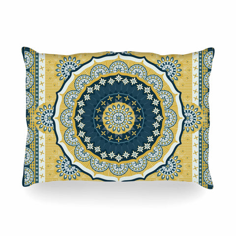 "Nandita Singh ""Chakra"" Yellow Blue Digital Oblong Pillow"