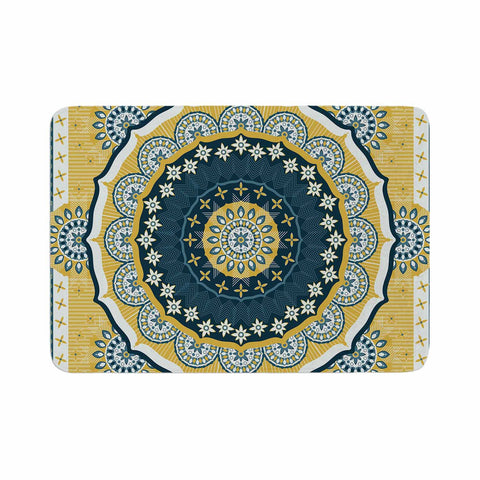 "Nandita Singh ""Chakra"" Yellow Blue Digital Memory Foam Bath Mat"