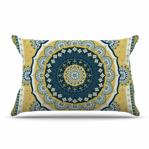 "Nandita Singh ""Chakra"" Yellow Blue Digital Pillow Sham"