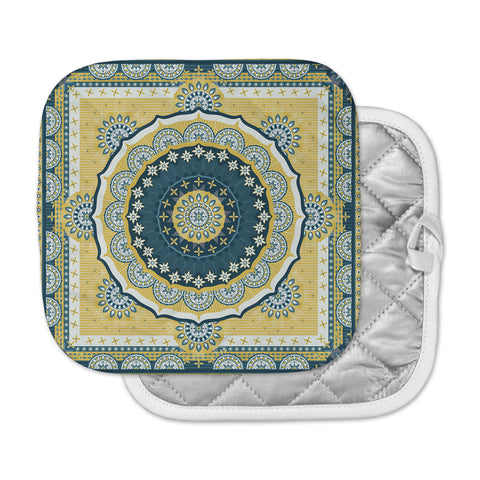 "Nandita Singh ""Chakra"" Yellow Blue Digital Pot Holder"