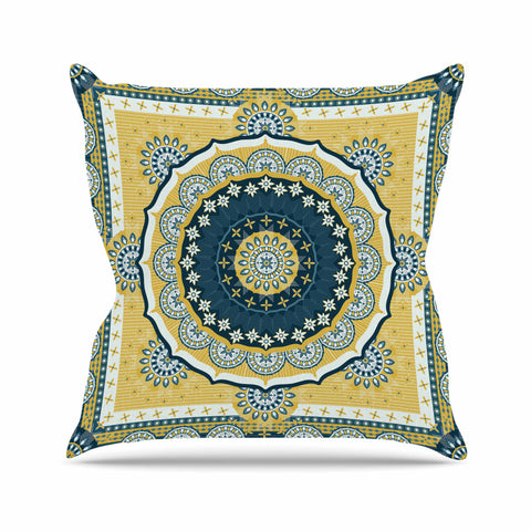 "Nandita Singh ""Chakra"" Yellow Blue Digital Outdoor Throw Pillow"
